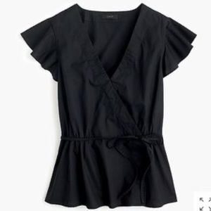 NWT-J.CREW-Flutter Sleeve Wrap Top. Size Small